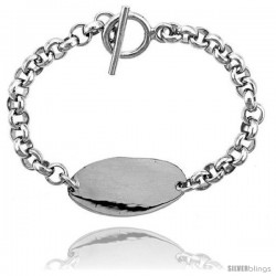 Sterling Silver Medical Emergency Bracelet Oval Plaque Toggle Clasp, 3/4 in wide, 8 1/2 in & 9 in