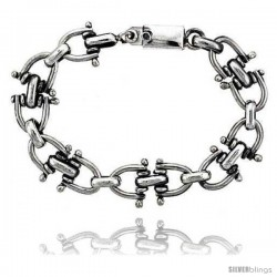Sterling Silver Horseshoe Link Bracelet 3/4 in wide