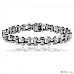 Sterling Silver Bicycle Chain Bracelet Handmade 3/8 in wide