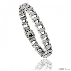 Sterling Silver Bicycle Chain Bracelet Handmade 5/16 in wide