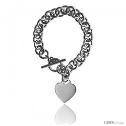 Sterling Silver Round Link Rolo w/ Heart Tag Heavy Gauge Handmade Bracelets and Necklaces