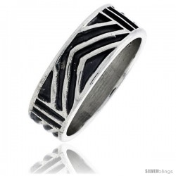 Sterling Silver Southwest Design Aztec Design Chevron Ring 1/4 in wide Hand Mad
