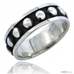 Sterling Silver Southwest Design Ring with a Row of Beads handmade 1/4 in wide