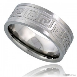 Surgical Steel Greek Key Ring 8mm Wedding Band Comfort-Fit