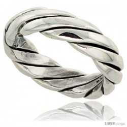 Sterling Silver Southwest Design Rope Ring Handmade 1/4 in wide
