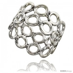 Sterling Silver Southwest Design 2-rows of Circles Ring 3/4 in wide