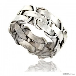 Sterling Silver Southwest Design Basket Weave Ring 3/8 in wide Handmade
