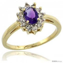 10k Yellow Gold Amethyst Diamond Halo Ring Oval Shape 1.2 Carat 6X4 mm, 1/2 in wide