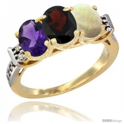 10K Yellow Gold Natural Amethyst, Garnet & Opal Ring 3-Stone Oval 7x5 mm Diamond Accent