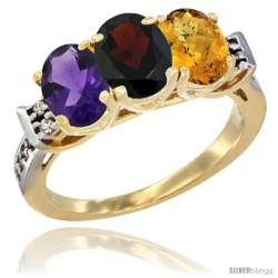10K Yellow Gold Natural Amethyst, Garnet & Whisky Quartz Ring 3-Stone Oval 7x5 mm Diamond Accent