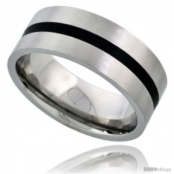 Surgical Steel 8mm Wedding Band Ring Black Stripe Inlay Center Matte Finish Comfort-fit