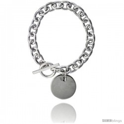 Sterling Silver Heavy Oval Rolo Link w/ Round Disc Necklaces and Bracelets