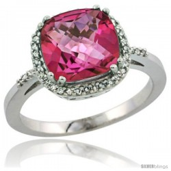 Sterling Silver Diamond Natural Pink Topaz Ring 3.05 ct Cushion Cut 9x9 mm, 1/2 in wide