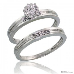 10k White Gold Diamond Engagement Rings Set 2-Piece 0.07 cttw Brilliant Cut, 1/8 in wide -Style Ljw004e2