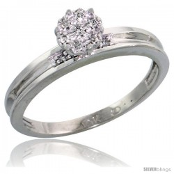 10k White Gold Diamond Engagement Ring 0.05 cttw Brilliant Cut, 1/8 in wide -Style Ljw004er