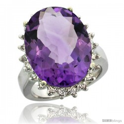 10k White Gold Diamond Halo Amethyst Ring 10 ct Large Oval Stone 18x13 mm, 7/8 in wide
