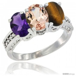 10K White Gold Natural Amethyst, Morganite & Tiger Eye Ring 3-Stone Oval 7x5 mm Diamond Accent