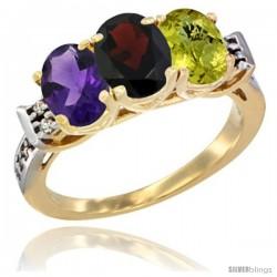 10K Yellow Gold Natural Amethyst, Garnet & Lemon Quartz Ring 3-Stone Oval 7x5 mm Diamond Accent
