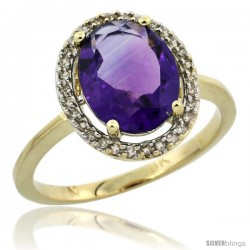 10k Yellow Gold Diamond Halo Amethyst Ring 2.4 carat Oval shape 10X8 mm, 1/2 in (12.5mm) wide