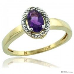 10k Yellow Gold Diamond Halo Amethyst Ring 0.75 Carat Oval Shape 6X4 mm, 3/8 in (9mm) wide