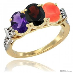 10K Yellow Gold Natural Amethyst, Garnet & Coral Ring 3-Stone Oval 7x5 mm Diamond Accent