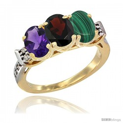 10K Yellow Gold Natural Amethyst, Garnet & Malachite Ring 3-Stone Oval 7x5 mm Diamond Accent