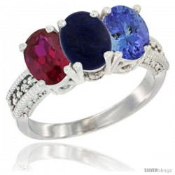 14K White Gold Natural Ruby, Lapis & Tanzanite Ring 3-Stone 7x5 mm Oval Diamond Accent