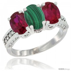 14K White Gold Natural Malachite & Ruby Sides Ring 3-Stone 7x5 mm Oval Diamond Accent