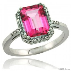 Sterling Silver Diamond Natural Pink Topaz Ring 2.53 ct Emerald Shape 9x7 mm, 1/2 in wide