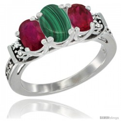 14K White Gold Natural Malachite & Ruby Ring 3-Stone Oval with Diamond Accent