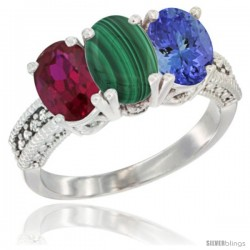 14K White Gold Natural Ruby, Malachite & Tanzanite Ring 3-Stone 7x5 mm Oval Diamond Accent