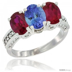 14K White Gold Natural Tanzanite & Ruby Sides Ring 3-Stone 7x5 mm Oval Diamond Accent