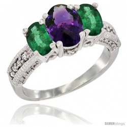 14k White Gold Ladies Oval Natural Amethyst 3-Stone Ring with Emerald Sides Diamond Accent