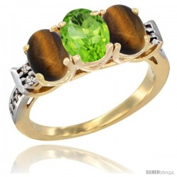10K Yellow Gold Natural Peridot & Tiger Eye Sides Ring 3-Stone Oval 7x5 mm Diamond Accent