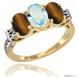10K Yellow Gold Natural Aquamarine & Tiger Eye Sides Ring 3-Stone Oval 7x5 mm Diamond Accent