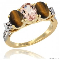10K Yellow Gold Natural Morganite & Tiger Eye Sides Ring 3-Stone Oval 7x5 mm Diamond Accent