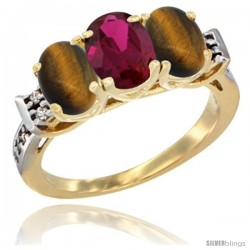 10K Yellow Gold Natural Ruby & Tiger Eye Sides Ring 3-Stone Oval 7x5 mm Diamond Accent