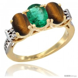 10K Yellow Gold Natural Emerald & Tiger Eye Sides Ring 3-Stone Oval 7x5 mm Diamond Accent