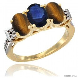 10K Yellow Gold Natural Blue Sapphire & Tiger Eye Sides Ring 3-Stone Oval 7x5 mm Diamond Accent