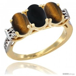 10K Yellow Gold Natural Black Onyx & Tiger Eye Sides Ring 3-Stone Oval 7x5 mm Diamond Accent