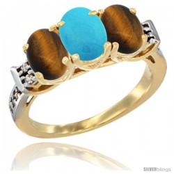 10K Yellow Gold Natural Turquoise & Tiger Eye Sides Ring 3-Stone Oval 7x5 mm Diamond Accent
