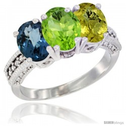 14K White Gold Natural London Blue Topaz, Peridot & Lemon Quartz Ring 3-Stone 7x5 mm Oval Diamond Accent