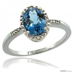 14k White Gold Diamond London Blue Topaz Ring 1.17 ct Oval Stone 8x6 mm, 3/8 in wide