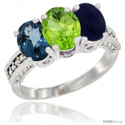 14K White Gold Natural London Blue Topaz, Peridot & Lapis Ring 3-Stone 7x5 mm Oval Diamond Accent