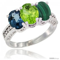 14K White Gold Natural London Blue Topaz, Peridot & Malachite Ring 3-Stone 7x5 mm Oval Diamond Accent