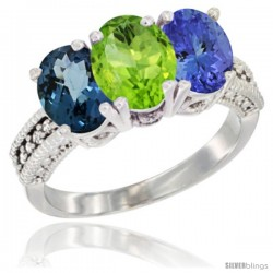 14K White Gold Natural London Blue Topaz, Peridot & Tanzanite Ring 3-Stone 7x5 mm Oval Diamond Accent