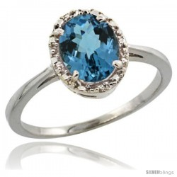 14k White Gold Diamond Halo London Blue Topaz Ring 1.2 ct Oval Stone 8x6 mm, 1/2 in wide