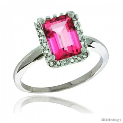 Sterling Silver Diamond Natural Pink Topaz Ring 1.6 ct Emerald Shape 8x6 mm, 1/2 in wide