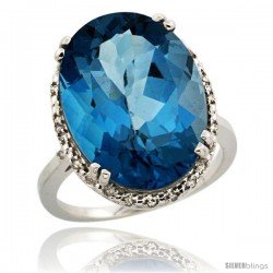 14k White Gold Diamond Halo Large London Blue Topaz Ring 10.3 ct Oval Stone 18x13 mm, 3/4 in wide