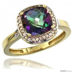 14k Yellow Gold Diamond Mystic Topaz Ring 2.08 ct Checkerboard Cushion 8mm Stone 1/2.08 in wide